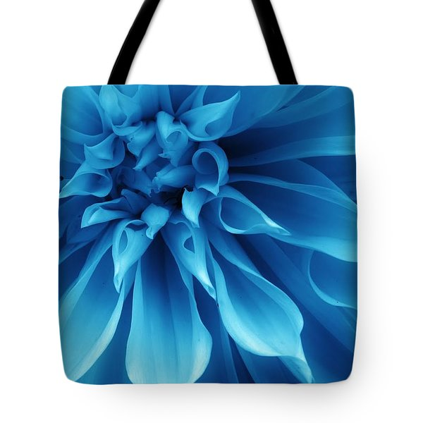 Ice Blue Dahlia Tote Bag
