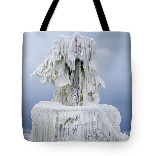 Ice Covered Warning Tower Along Lake Michigan In St. Joseph Michigan Tote Bag