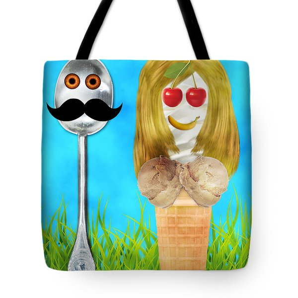 Tote Bag featuring the digital art Ice Cream Couple by Ally  White