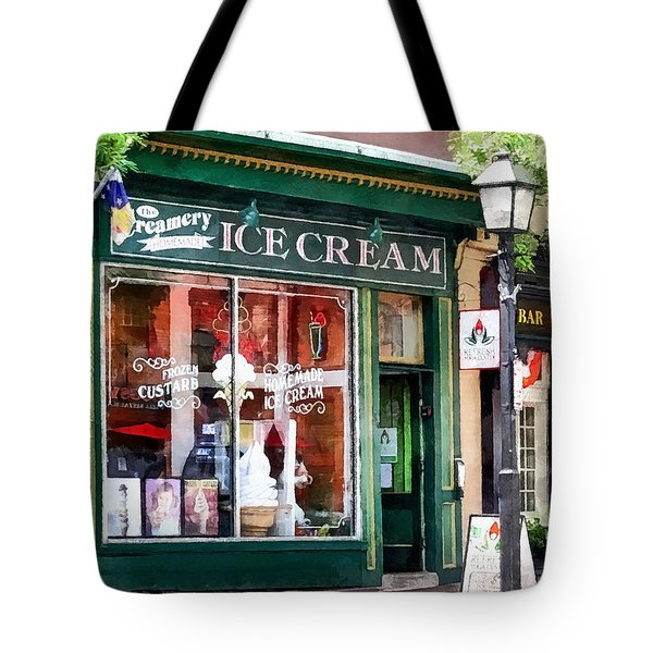 Alexandria Va - Ice Cream Parlor Tote Bag by Susan Savad