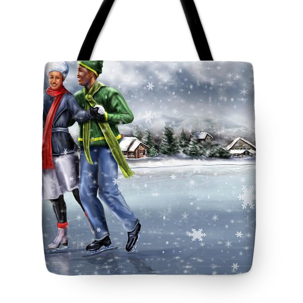 Ice Dancing On The Lake Tote Bag by Reggie Duffie