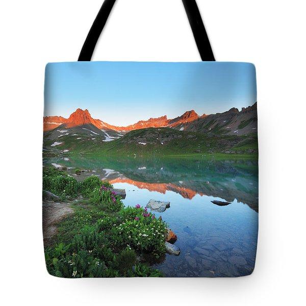 Ice Lake Sunrise Tote Bag