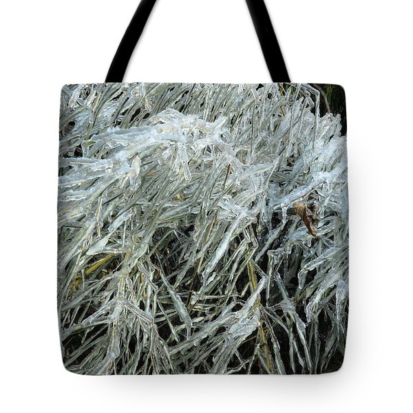 Ice On Bamboo Leaves Tote Bag