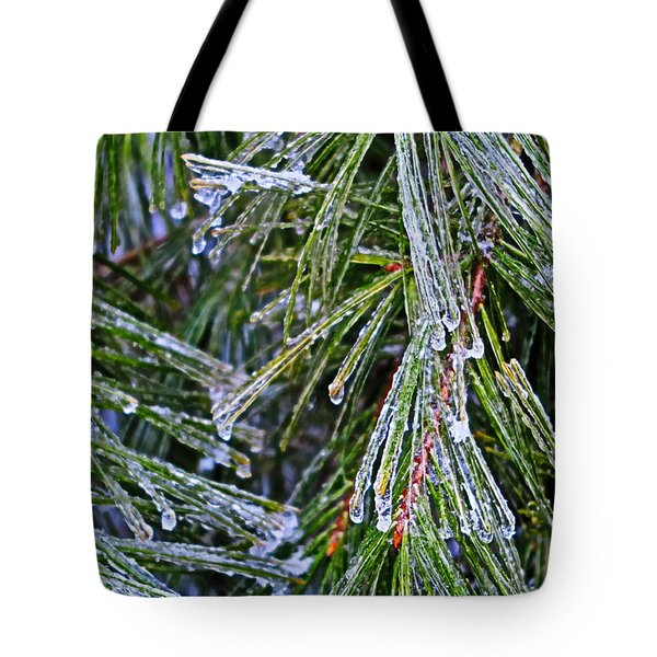 Ice On Pine Needles  Tote Bag