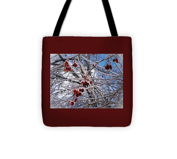 Ice On The Crab-apples Tote Bag by Joy Nichols