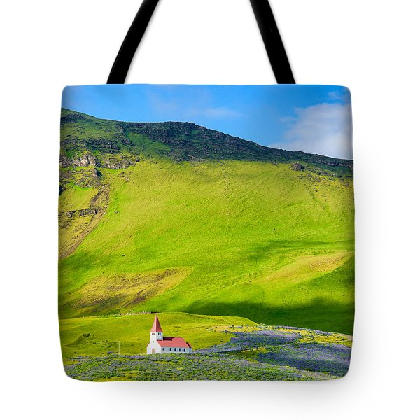 Iceland Mountain Landscape With Church In Vik Tote Bag