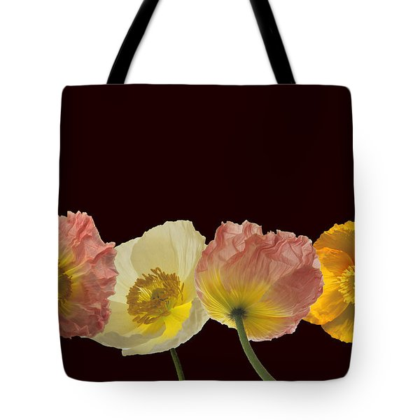 Tote Bag featuring the photograph Iceland Poppies On Black by Susan Rovira