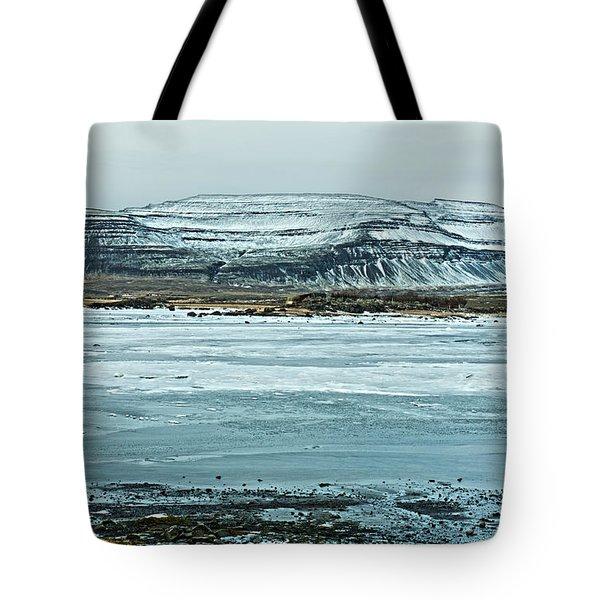 Icelandic Winter Landscape Tote Bag