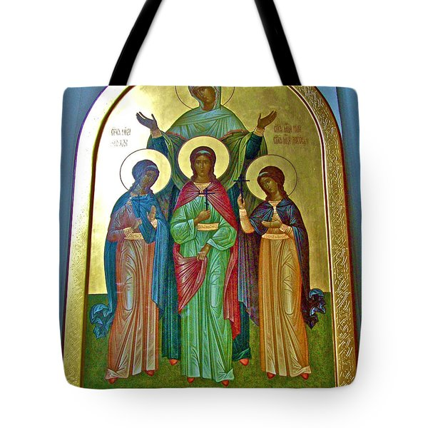 Icon Inside Chesme Church Built By Catherine The Great In Saint  Petersburg-russia Tote Bag