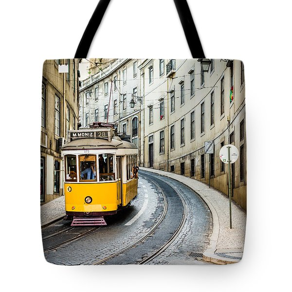 Iconic Lisbon Streetcar No. 28 IIi Tote Bag by Marco Oliveira