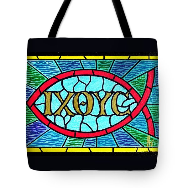 Icthus Sign Of The Fish Tote Bag by Jim Harris
