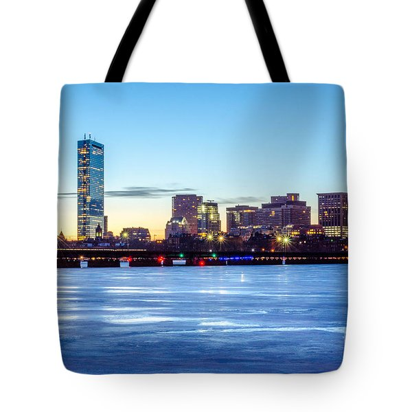 Icy Boston At Dawn Tote Bag by Mike Ste Marie