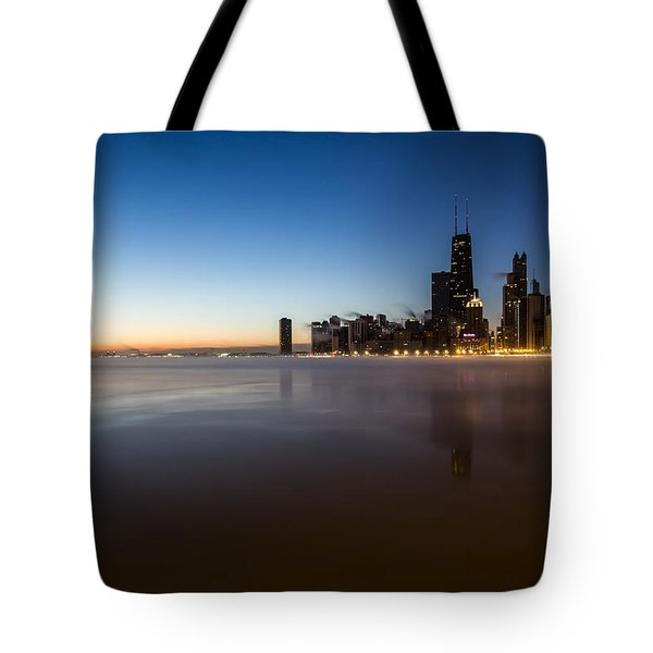 icy crescent moon dawn scene in Chicago Tote Bag
