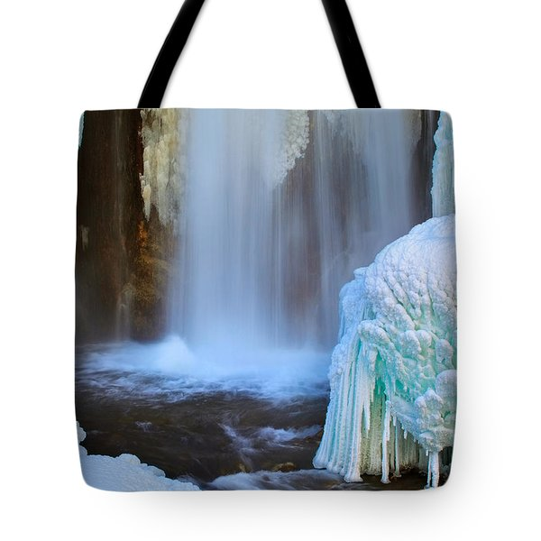 Tote Bag featuring the photograph Ice Falls by Kadek Susanto