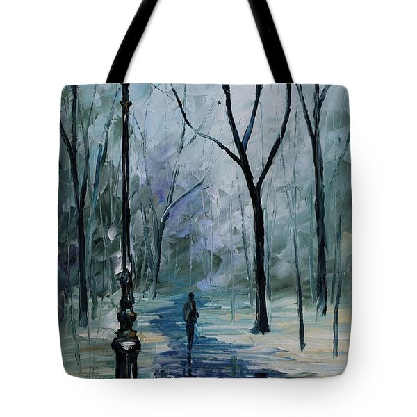 Icy Path - Palette Knife Oil Painting On Canvas By Leonid Afremov Tote Bag by Leonid Afremov