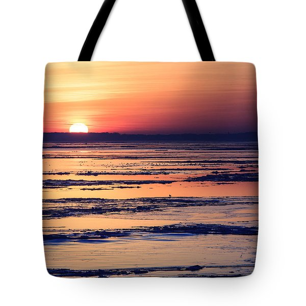Tote Bag featuring the photograph Icy Sunrise by Jennifer Casey