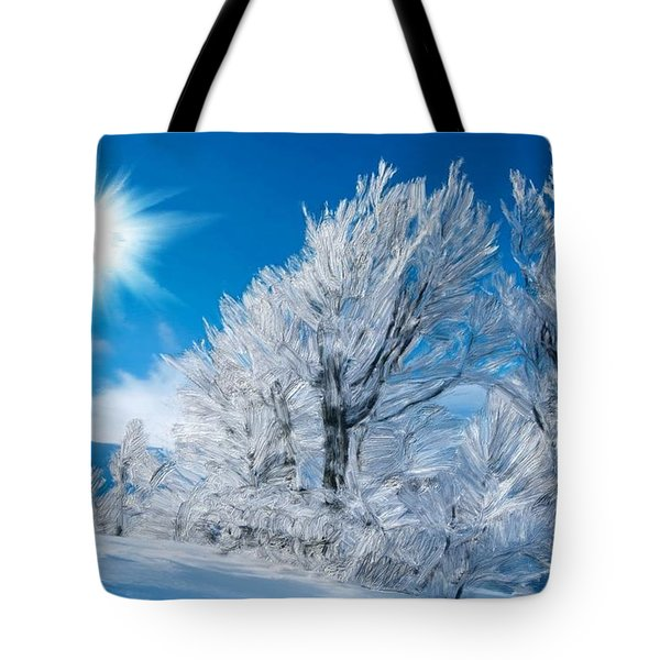 Icy Trees Tote Bag by Bruce Nutting