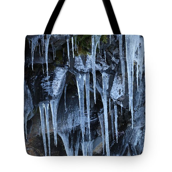 Icycles On Cliff Tote Bag by Carol Groenen