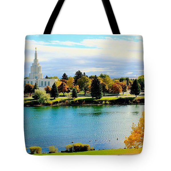 Tote Bag featuring the photograph Idaho Falls Temple by Benjamin Yeager