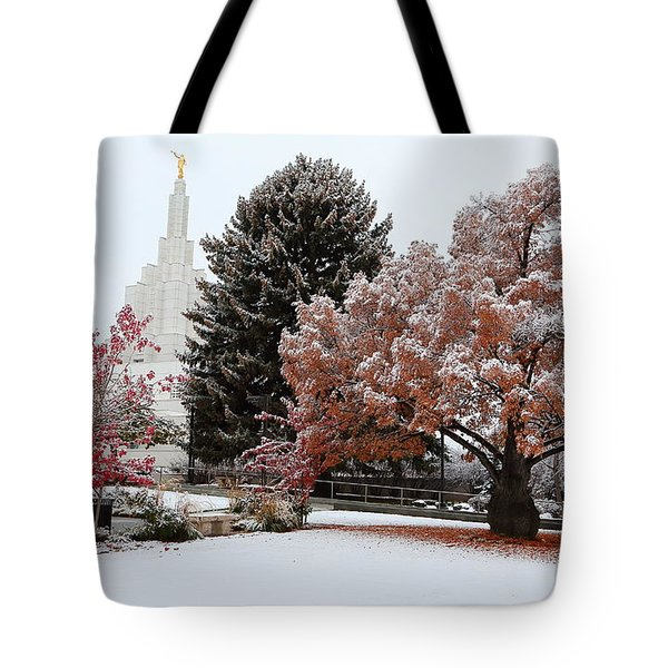 Idaho Falls Temple Winter Tote Bag