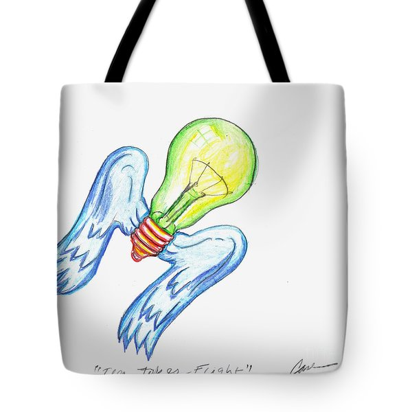 Idea Takes Flight Tote Bag by Feile Case