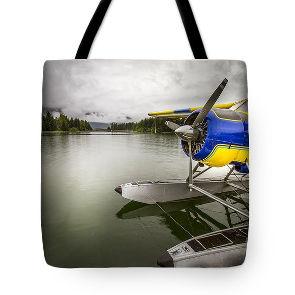 Idle Float Plane At Juneau Airport Tote Bag by Darcy Michaelchuk