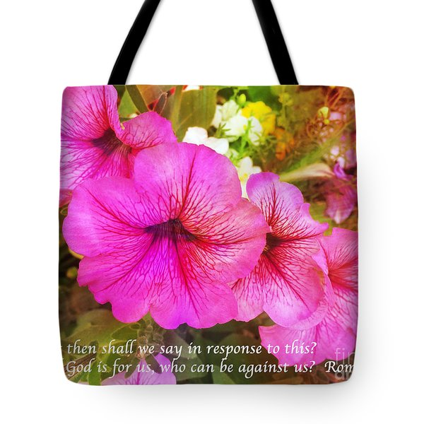 If God Is For Us Who Can Be Against Us Tote Bag by Maggie Vlazny