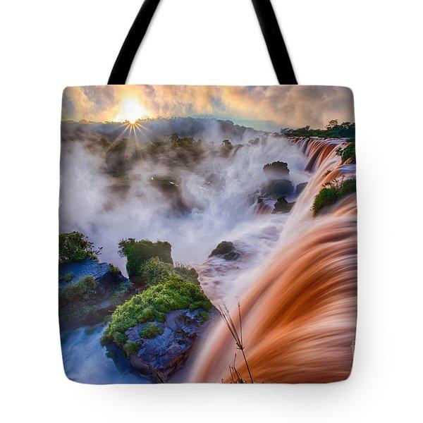 Iguazu Sunrise Tote Bag by Inge Johnsson