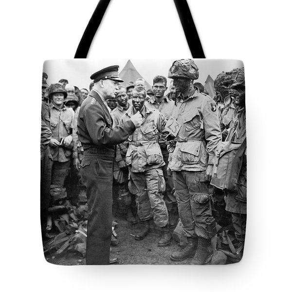Ike With D-day Paratroopers Tote Bag