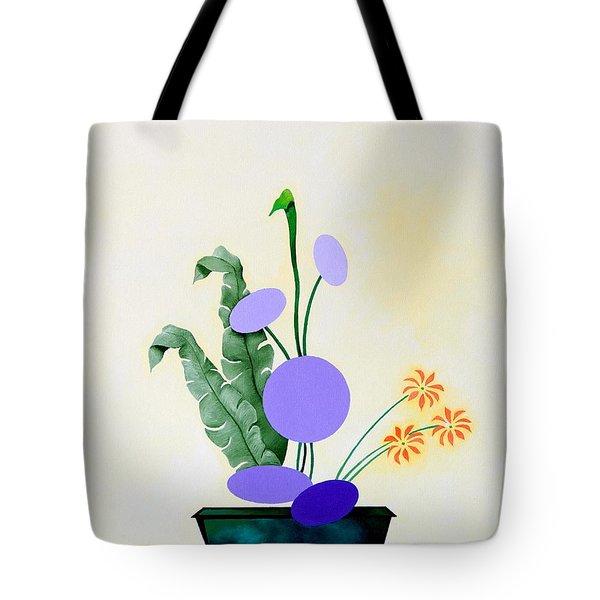 Ikebana #2 Green Pot Tote Bag by Thomas Gronowski