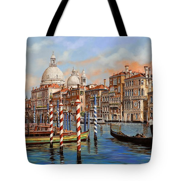 Tote Bag featuring the painting Il Canal Grande by Guido Borelli