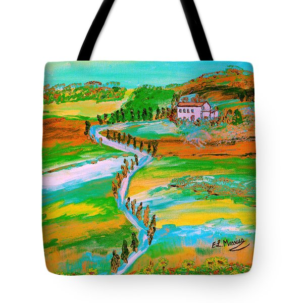 Tote Bag featuring the painting  Tuscan Countryside by Loredana Messina