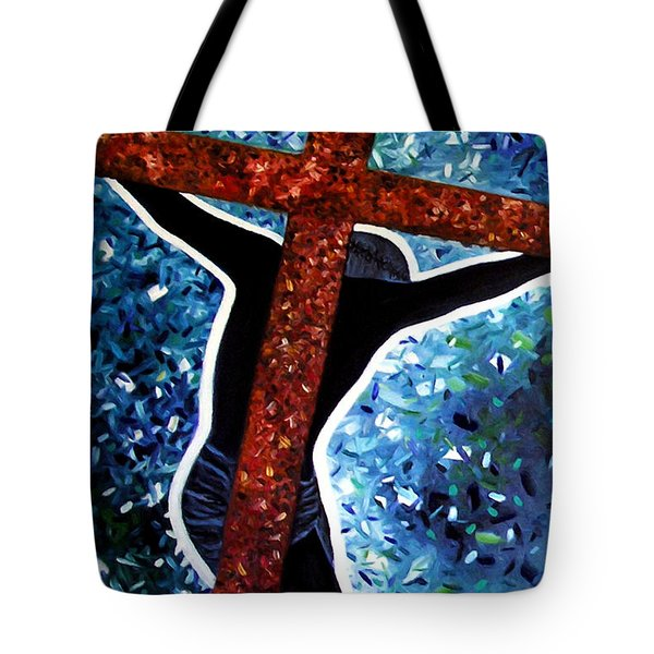 Tote Bag featuring the painting Il Crocifisso - The Crucifix by Ze  Di