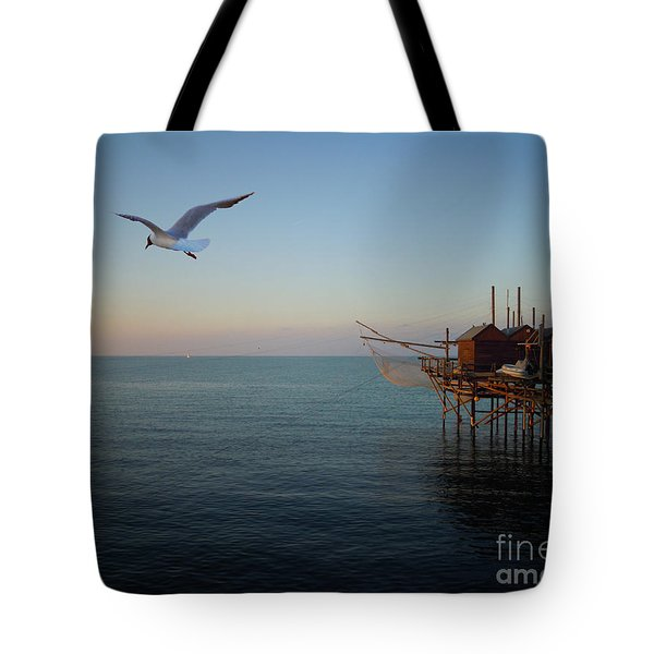 Tote Bag featuring the photograph Il Trabucco - The Trebuchet Fishing by Zedi
