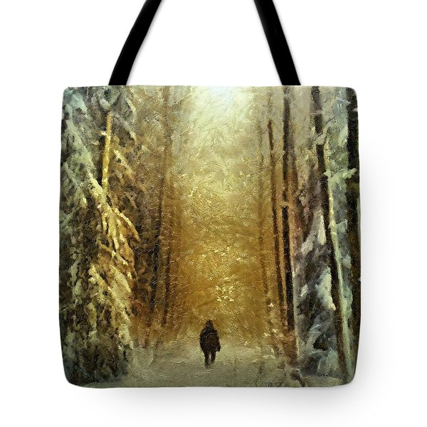 Tote Bag featuring the painting I'll Be Home For Christmas by Dragica  Micki Fortuna