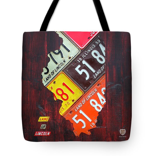 Illinois License Plate Map Tote Bag by Design Turnpike