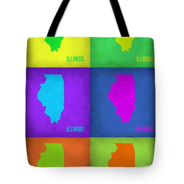 Illinois Pop Art Map 1 Tote Bag by Naxart Studio