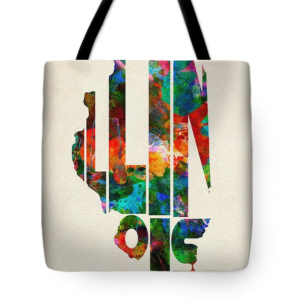 Illinois Typographic Watercolor Map Tote Bag