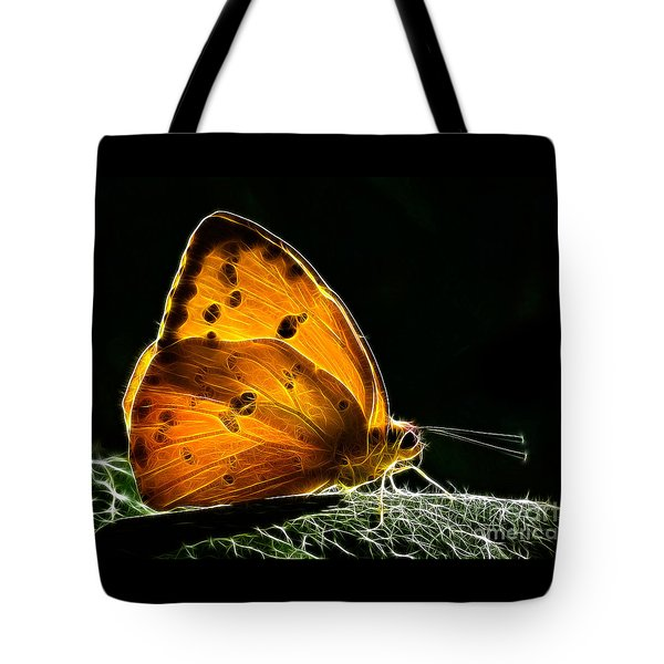 Illuminated Butterfly Tote Bag by Alice Cahill