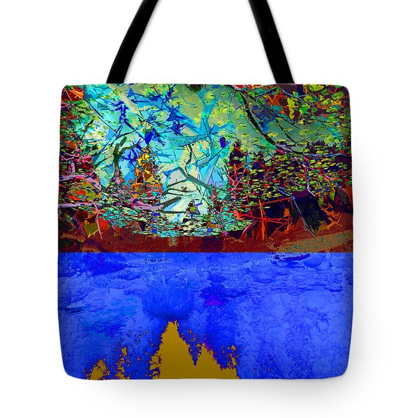 Illusion Of Lake And Forest Tote Bag