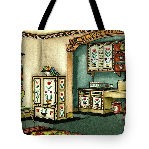 Illustration Of A Colorful Swedish Kitchen Tote Bag