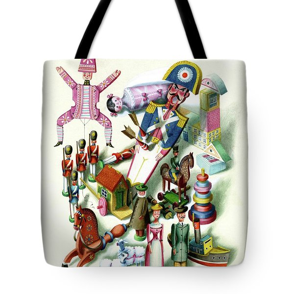 Illustration Of A Group Of Children's Toys Tote Bag