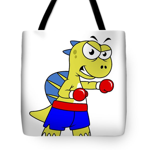 Illustration Of A Spinosaurus Boxing Tote Bag by Stocktrek Images