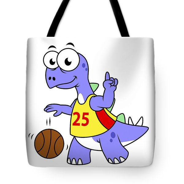 Illustration Of A Stegosaurus Playing Tote Bag by Stocktrek Images