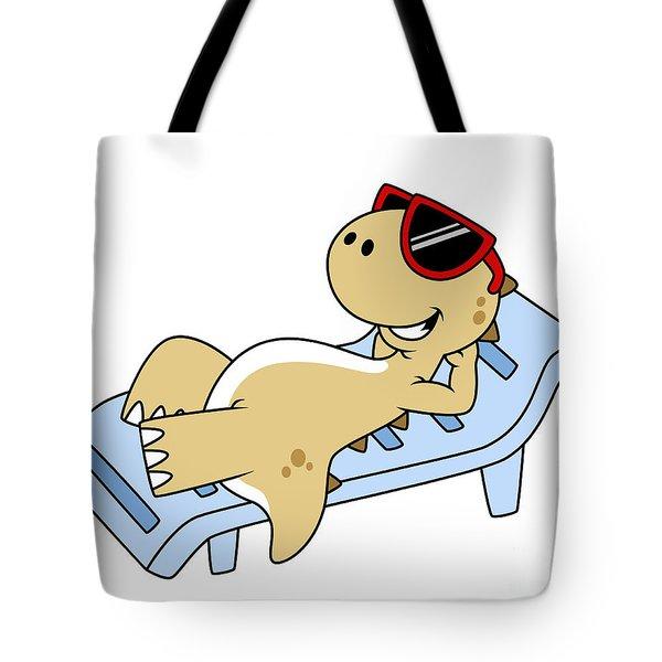 Illustration Of A Sunbathing Tote Bag by Stocktrek Images