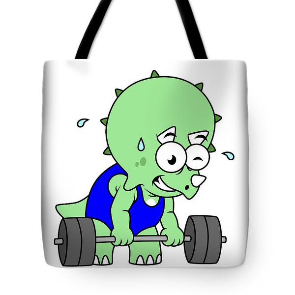Illustration Of A Triceratops Lifting Tote Bag by Stocktrek Images