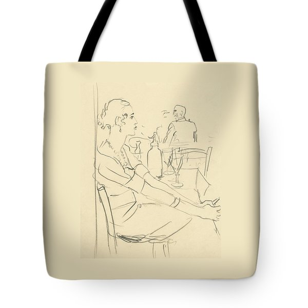 Illustration Of A Woman Sitting Down Tote Bag