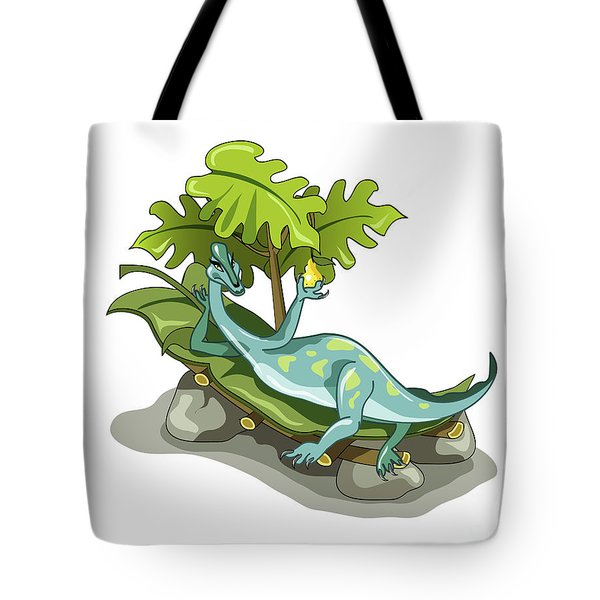 Illustration Of An Iguanodon Sunbathing Tote Bag