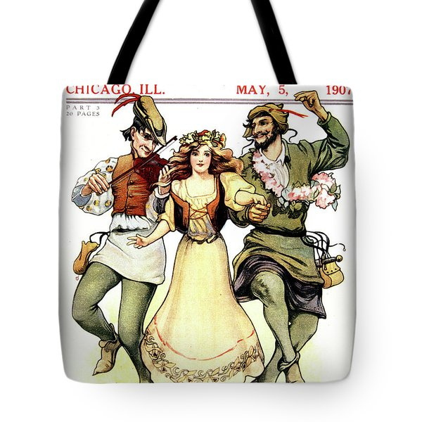 Illustration Of Medieval May Day Folk Tote Bag