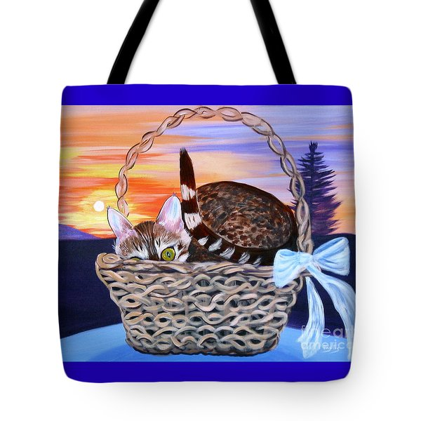 Tote Bag featuring the painting I'm Hiding   Oil Painting by Phyllis Kaltenbach